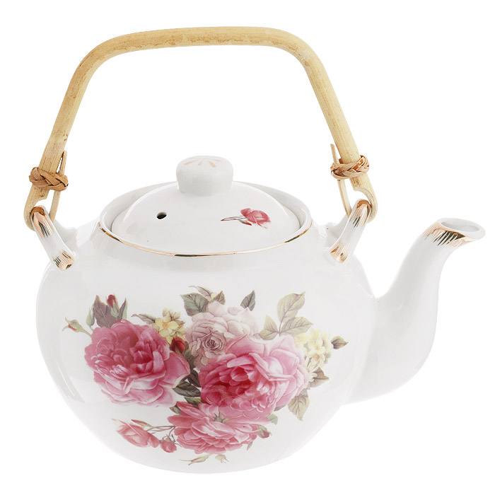 Чайник заварочный Briswild Розовая тайна, с бамбуковой ручкой, 920 мл523-116Чайник заварочный Briswild Розовая тайна изготовлен из высококачественного фарфора белого цвета, украшенного изящным цветочным узором. К чайнику прилагается ручка из натурального бамбука. Такой интересный дизайн, несомненно, придется по вкусу и любителям классики, и тем кто ценит красоту и изящество. Чайник заварочный Briswild Розовая тайна украсит ваш кухонный стол, а также станет замечательным подарком к любому празднику. Не использовать в микроволновой печи. Не применять абразивные чистящие вещества.Диаметр по верхнему краю: 8,5 см. Диаметр основания чайника: 9 см.Высота чайника (без учета крышки): 10 см.