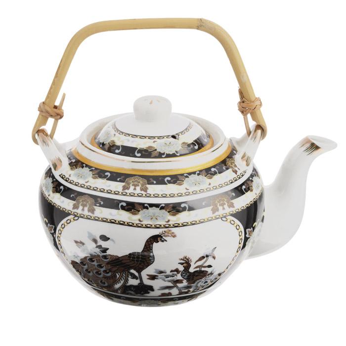 Чайник заварочный Briswild Павлин, с бамбуковой ручкой, 920 мл523-115Чайник заварочный Briswild Павлин изготовлен из высококачественного фарфора, украшенного ярким узором изолотистой эмалью. К чайнику прилагается ручка из натурального бамбука. Такой интересный дизайн,несомненно, придется по вкусу и любителям классики, и тем кто ценит красоту и изящество.Чайник заварочный Briswild Павлин украсит ваш кухонный стол, а также станет замечательным подарком клюбому празднику.Не использовать в микроволновой печи.Не применять абразивные чистящие вещества.Диаметр по верхнему краю: 8,5 см.Диаметр основания чайника: 9 см. Высота чайника (без учета крышки): 10 см.