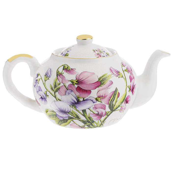 Чайник заварочный Briswild Душистый горошек, 1 л. 545-725545-725Чайник заварочный Briswild Душистый горошек изготовлен из высококачественного фарфора белого цвета, украшенного рельефом и ярким изображением цветов. Такой дизайн, несомненно, придется по вкусу любителям классики и тем кто ценит красоту и изящество. Чайник заварочный Briswild Душистый горошек украсит ваш кухонный стол, а также станет замечательным подарком к любому празднику. Не использовать в микроволновой печи. Не применять абразивные чистящие вещества.Диаметр по верхнему краю: 8,5 см. Диаметр основания чайника: 9,2 см.Высота чайника (без учета крышки): 10 см.