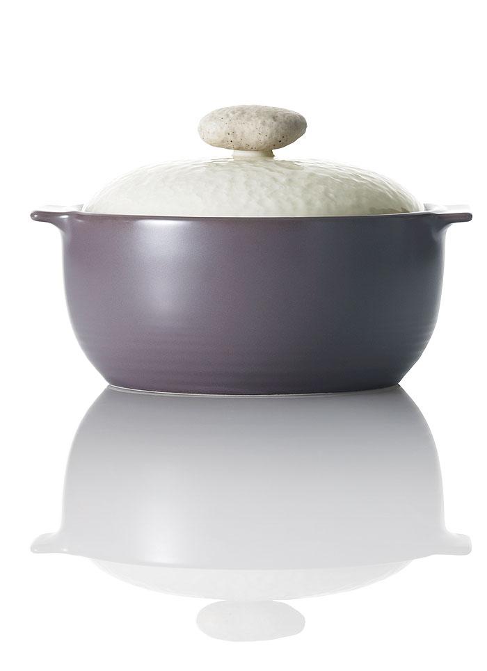 цена на Кастрюля Frybest Charm с крышкой, с керамическим покрытием, цвет: фиолетовый, 1 л