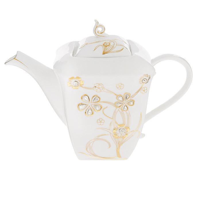 Чайник заварочный Briswild Золотое дерево, 2 л. 595-246595-246Чайник заварочный Briswild Золотое дерево изготовлен из высококачественного фарфора белого цвета. Чайник декорирован золотистым рельефным изображением цветов и стразами. Такой дизайн, несомненно, придется по вкусу любителям классики и тем кто ценит красоту и изящество. Чайник заварочный Briswild Золотое дерево украсит ваш кухонный стол, а также станет замечательным подарком к любому празднику. Не использовать в микроволновой печи. Не применять абразивные чистящие вещества.Размеры чайника без крышки (ДхШхВ): 27 см х 14 см х 16 см.