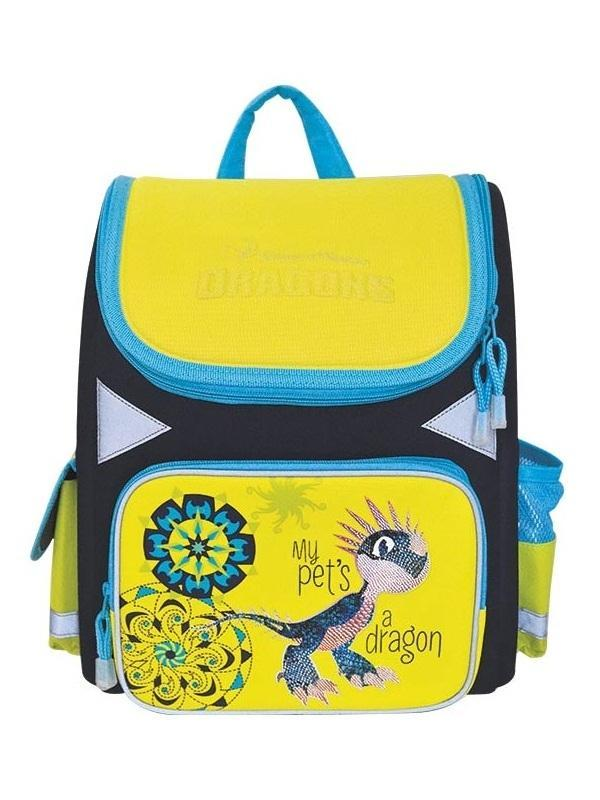 Ранец школьный DRAGONS, разм.34x29x13 cм, жесткая рельефная спинк, светоотраж. элементы безопасности -  Ранцы и рюкзаки