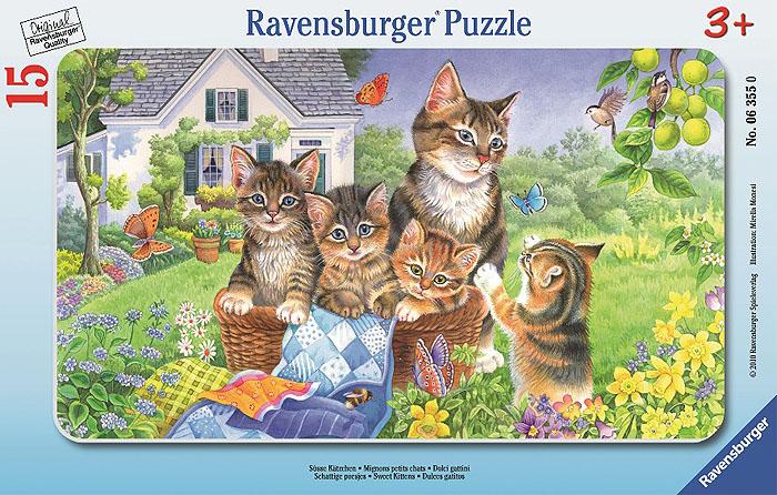 Ravensburger Ласковые котята. Пазл в рамке, 15 элементов ravensburger историческая карта пазл 5000 элементов