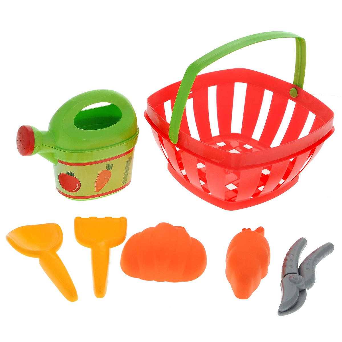 Ecoiffier Игровой набор Для огорода, 7 предметов écoiffier тележка для уборки с пылесосом ecoiffier
