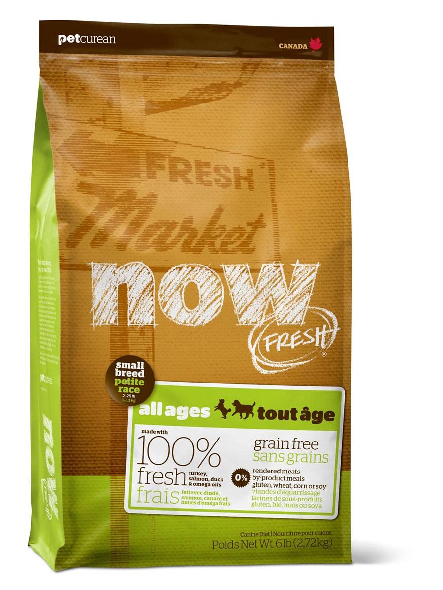 Корм сухой Now! Fresh для собак малых пород, беззерновой, с индейкой, уткой и овощами, 5,45 кг3452Беззерновой сухой корм для малых пород всех возрастов Now! Fresh - полностью сбалансированный холистик (корм супер премиум класса) из свежего филе индейки и утки, выращенных на канадских фермах. Корм рекомендован для малых пород всех возрастов: для щенков, для взрослых, для пожилых и для активных собак. Now! Fresh - беззерновой корм со сбалансированным содержание белков и жиров.Не содержит субпродуктов, красителей, говядины, мясных ингредиентов, выращенных на гормонах. Благодаря своей форме гранулы бережно очищают зубы, люцерна в составе корма освежает дыхание. Пробиотики и пребиотики обеспечивают здоровое пищеварение. Маленький размер гранул способствует лучшему захвату корма. Докозагексаеновая кислота (DHA) и эйкозапентаеновая кислота (EPA) необходимы для нормальной деятельности мозга и здорового зрения. Омега-масла в составе необходимы для здоровой кожи и шерсти. Антиоксиданты укрепляют иммунную систему. Цельные ягоды, фрукты, овощи - брокколи, горошек, черника, тыква, шпинат, водоросли, клюква, ростки люцерны и другое. Состав: филе индейки, картофель, свежие цельные яйца, горох, льняное семя, яблоки, масло канолы (источник витамина Е), натуральный ароматизатор, утиное филе, филе лосося, кокосовое масло (источник витамина Е), томаты, сушеная люцерна, морковь, тыква, бананы, черника, клюква, малина, ежевика, папайя, ананас, грейпфрут, чечевица, брокколи, шпинат, творог, ростки люцерны, сушеные водоросли, экстракт водорослей, дрожжи, дрожжевой экстракт, экстракт юкки шидигера, календула, петрушка, мята, экстракт зеленого чая, сушеный розмарин, высушенный корень цикория, Lactobacillus, Enterococcus, Aspergillus. Добавки на кг: витамин А, тиамина мононитрат (витамин В1), рибофлавин (витамин В2), никотиновая кислота (витамин В3), пантотеновая кислота (витамин В5), пиридоксина гидрохлорид (витамин В6), биотин (витамин В7), фолиевая кислота (витамин В9), витамин В12, витами