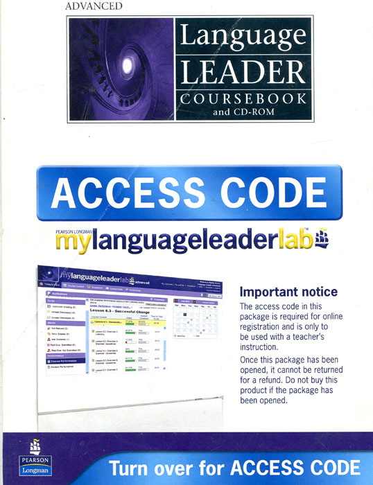 Acess Code: Language Leader Coursebook and CD-ROM the original 2mbi200l 060 code package machine disassemble