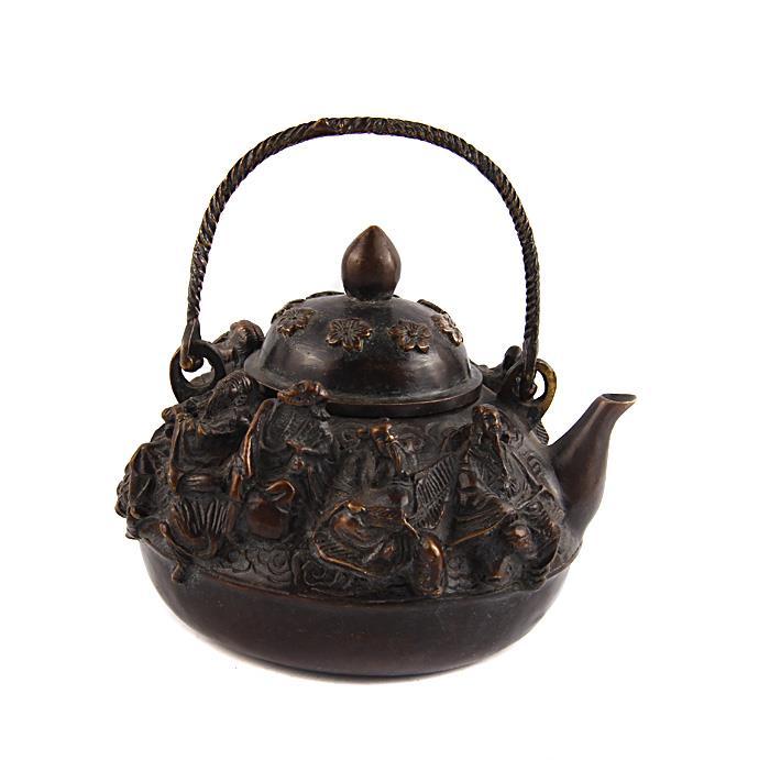 Чайник Восемь мудрецов в тибетском стиле. Бронза, прочеканка. Китай, вторая половина XX века китай yixing чайник коллекция h068
