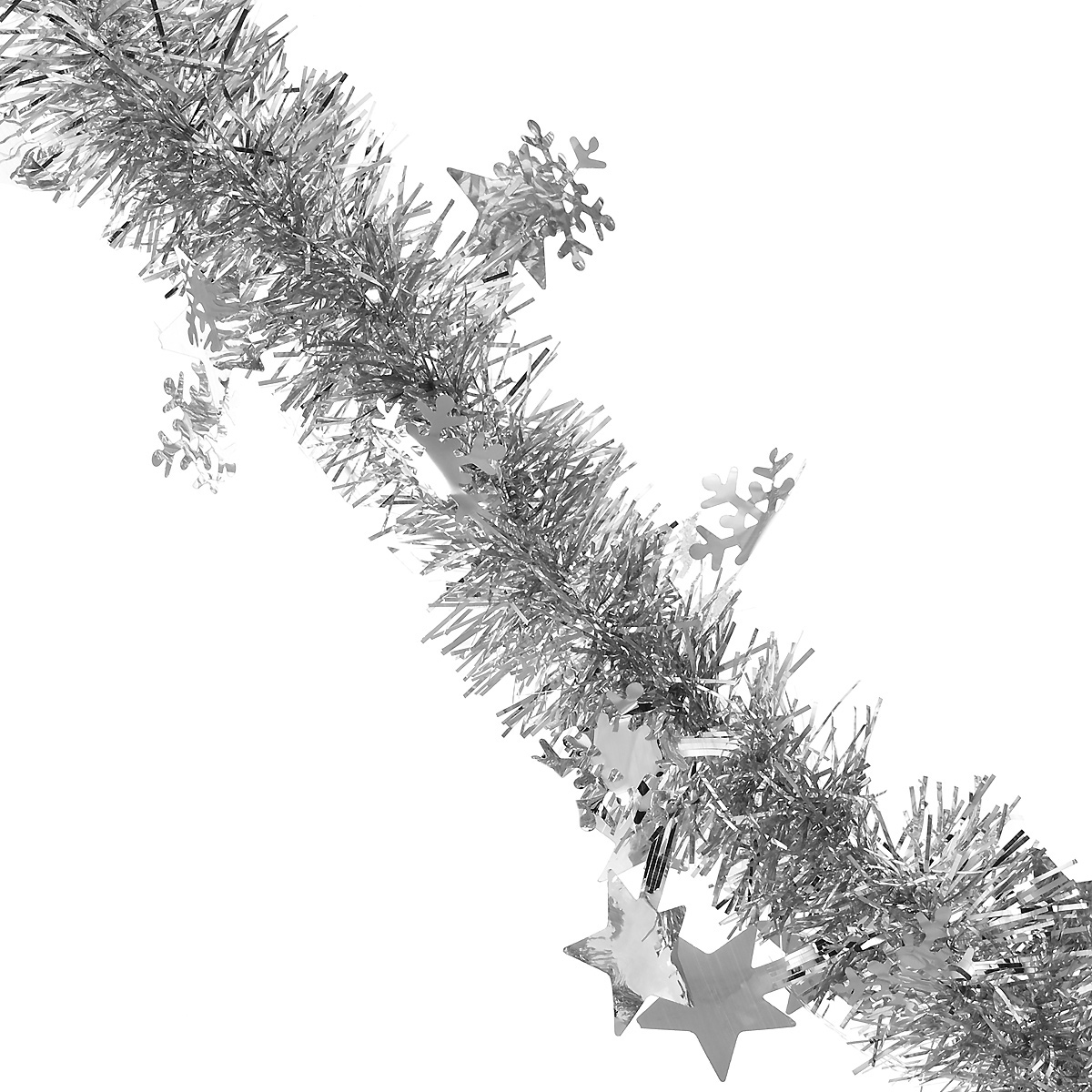 Мишура новогодняя Magic Time, со звездами и снежинками, диаметр 6 см, длина 200 см, цвет: серебристый. 3487134871Новогодняя мишура Magic Time, выполненная из ПЭТ (Полиэтилентерефталат), поможет вам украсить свой дом к предстоящим праздникам. Изделие выполнено в виде скрученной косички. Новогодняя елка с таким украшением станет еще наряднее. Мишура армирована, то есть имеет проволоку внутри и способна сохранять форму. Новогодней мишурой можно украсить все, что угодно - елку, квартиру, дачу, офис - как внутри, так и снаружи. Можно сложить новогодние поздравления, буквы и цифры, мишурой можно украсить и дополнить гирлянды, можно выделить дверные колонны, оплести дверные проемы. Коллекция декоративных украшений из серии Magic Time принесет в ваш дом ни с чем несравнимое ощущение волшебства! Создайте в своем доме атмосферу тепла, веселья и радости, украшая его всей семьей.
