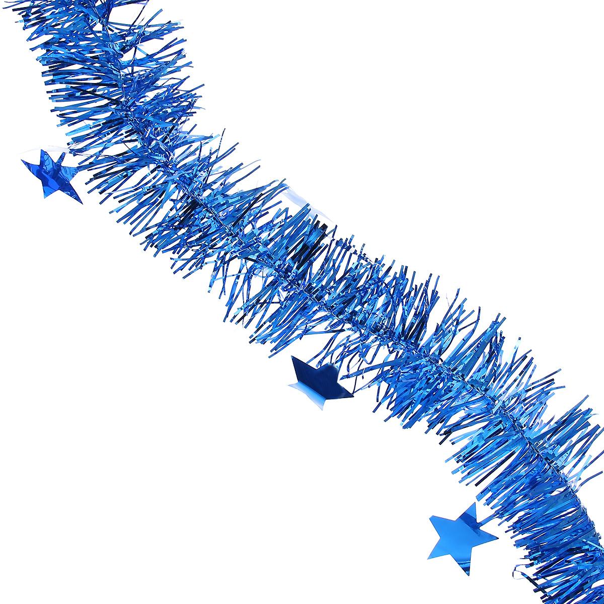 Мишура новогодняя Magic Time, со звездами, диаметр 6 см, длина 200 см, цвет: синий. 3490134901Новогодняя мишура Magic Time, выполненная из ПЭТ (Полиэтилентерефталат), поможет вам украсить свой дом к предстоящим праздникам. Изделие выполнено в виде скрученной косички. Новогодняя елка с таким украшением станет еще наряднее. Мишура армирована, то есть имеет проволоку внутри и способна сохранять форму. Новогодней мишурой можно украсить все, что угодно - елку, квартиру, дачу, офис - как внутри, так и снаружи. Можно сложить новогодние поздравления, буквы и цифры, мишурой можно украсить и дополнить гирлянды, можно выделить дверные колонны, оплести дверные проемы. Коллекция декоративных украшений из серии Magic Time принесет в ваш дом ни с чем несравнимое ощущение волшебства! Создайте в своем доме атмосферу тепла, веселья и радости, украшая его всей семьей.