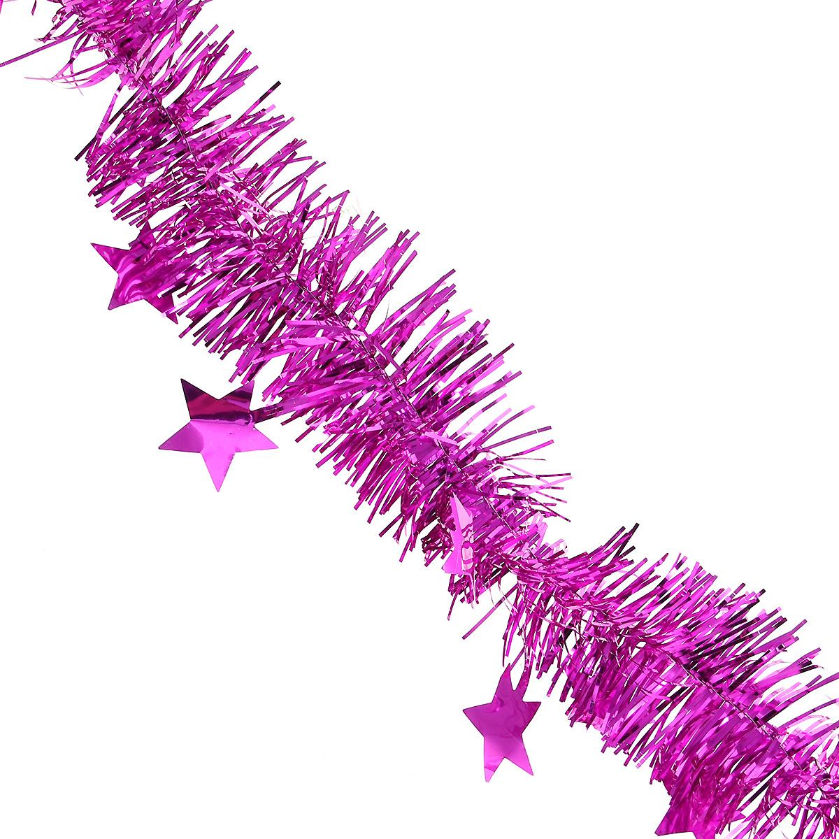 Мишура новогодняя Magic Time, со звездами, диаметр 6 см, длина 200 см, цвет: фиолетовый. 3490034900Новогодняя мишура Magic Time, выполненная из ПЭТ (Полиэтилентерефталат), поможет вам украсить свой дом к предстоящим праздникам. Изделие выполнено в виде скрученной косички. Новогодняя елка с таким украшением станет еще наряднее. Мишура армирована, то есть имеет проволоку внутри и способна сохранять форму. Новогодней мишурой можно украсить все, что угодно - елку, квартиру, дачу, офис - как внутри, так и снаружи. Можно сложить новогодние поздравления, буквы и цифры, мишурой можно украсить и дополнить гирлянды, можно выделить дверные колонны, оплести дверные проемы. Коллекция декоративных украшений из серии Magic Time принесет в ваш дом ни с чем несравнимое ощущение волшебства! Создайте в своем доме атмосферу тепла, веселья и радости, украшая его всей семьей.