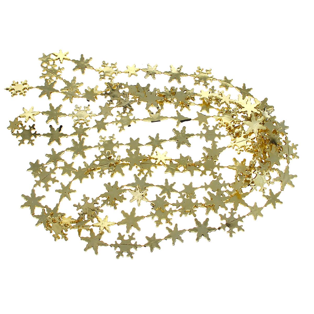 Новогодняя гирлянда Снежинки, цвет: золотистый, 270 см31083Новогодняя гирлянда прекрасно подойдет для декора дома или офиса. Украшение выполнено из разноцветной металлизированной фольги. С помощью специальных петелек гирлянду можно повесить в любом понравившемся вам месте. Украшение легко складывается и раскладывается.Новогодние украшения несут в себе волшебство и красоту праздника. Они помогут вам украсить дом к предстоящим праздникам и оживить интерьер по вашему вкусу. Создайте в доме атмосферу тепла, веселья и радости, украшая его всей семьей.
