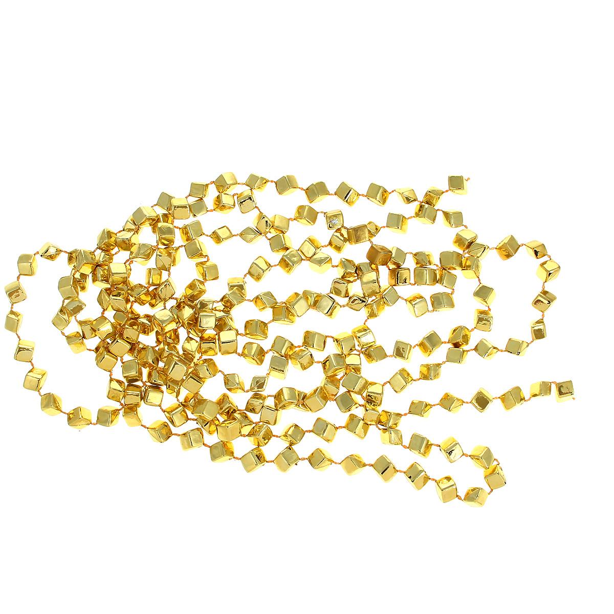 Новогодняя гирлянда Кубики, цвет: золотистый, 270 см31625Новогодняя гирлянда прекрасно подойдет для декора дома или офиса. Украшение выполнено из разноцветной металлизированной фольги. С помощью специальных петелек гирлянду можно повесить в любом понравившемся вам месте. Украшение легко складывается и раскладывается.Новогодние украшения несут в себе волшебство и красоту праздника. Они помогут вам украсить дом к предстоящим праздникам и оживить интерьер по вашему вкусу. Создайте в доме атмосферу тепла, веселья и радости, украшая его всей семьей.