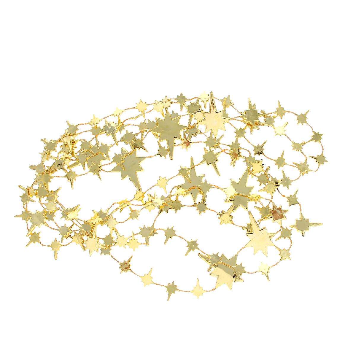 Новогодняя гирлянда Звезды, цвет: золотистый, 270 см34454Новогодняя гирлянда прекрасно подойдет для декора дома или офиса. Украшение выполнено из разноцветной металлизированной фольги. С помощью специальных петелек гирлянду можно повесить в любом понравившемся вам месте. Украшение легко складывается и раскладывается. Новогодние украшения несут в себе волшебство и красоту праздника. Они помогут вам украсить дом к предстоящим праздникам и оживить интерьер по вашему вкусу. Создайте в доме атмосферу тепла, веселья и радости, украшая его всей семьей.