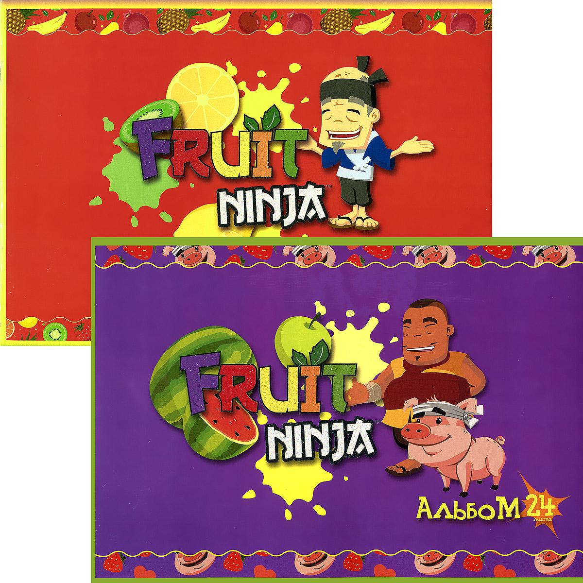 """Набор альбомов для рисования Action! """"Fruit Ninja"""", 24 листа, 2 шт"""