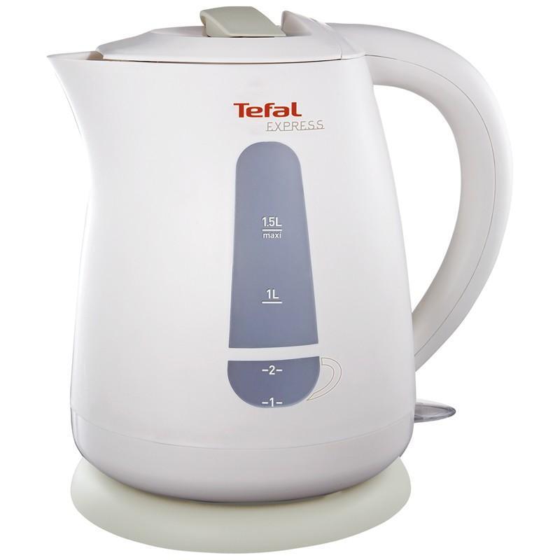 Tefal KO299 13E электрочайникKO 299 Express PlasticЧайник Tefal KO 299 13E — электрический кухонный прибор от французского производителя. Корпус чайника изготовлен из термостойкого пластика. Совершенная технология кипячения повысила эффективность прибора — двухступенчатая индикация воды дает возможность кипятить как весь объем (1,5 литра), так и одну чашку воды.Tefal KO 299 13E работает на поворотном основании, элемент нагрева скрыт, не имеет контакта с водой, что обеспечивает простой уход внутренней поверхности сосуда. Благодаря фильтрационной системе, частицы накипи и взвеси не попадают в емкости. Работу прибора сопровождает световая индикация, при полном нагреве срабатывает механизм автовыключения.