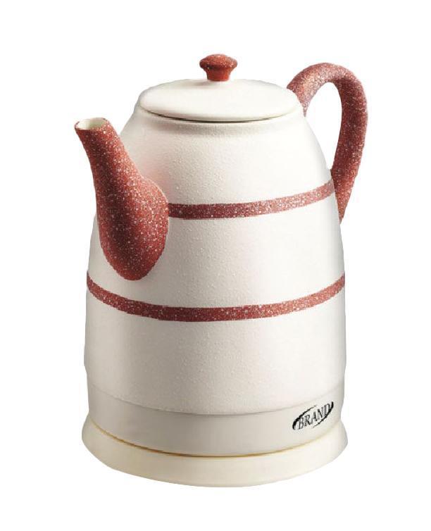 Brand 403R, Red электрочайник403R, RedКерамический чайник Brand 403R благодаря своему оригинальному дизайну станет настоящим украшением кухонного стола. Белый корпус с красным рисунком будет замечательно смотреться в любом интерьере. Более того, керамика является экологически чистым материалом, что исключает образование вредных веществ в процессе кипячения. Вы не почувствуете ни малейших посторонних запахов и привкусов.Особенности: Экологически чистый керамический корпус.Изящный дизайн. Продолжительное сохранение тепла. Скрытый нагревательный элемент.Автозащита при отсутствии воды, при выкипании и от перегрева. Вращение на 360 градусов. Отсек для шнура питания. Экономное энергопотребление.