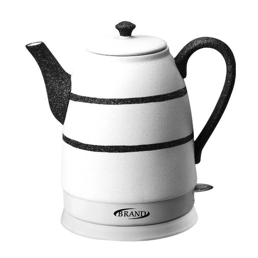 Brand 403B, Black электрочайник403B, BlackКерамический чайник Brand 403В благодаря своему оригинальному дизайну станет настоящим украшением кухонного стола. Белый корпус с черным рисунком будет замечательно смотреться в любом интерьере. Более того, керамика является экологически чистым материалом, что исключает образование вредных веществ в процессе кипячения. Вы не почувствуете ни малейших посторонних запахов и привкусов.Особенности: Экологически чистый керамический корпус.Изящный дизайн. Продолжительное сохранение тепла. Скрытый нагревательный элемент.Автозащита при отсутствии воды, при выкипании и от перегрева. Вращение на 360 градусов. Отсек для шнура питания. Экономное энергопотребление.