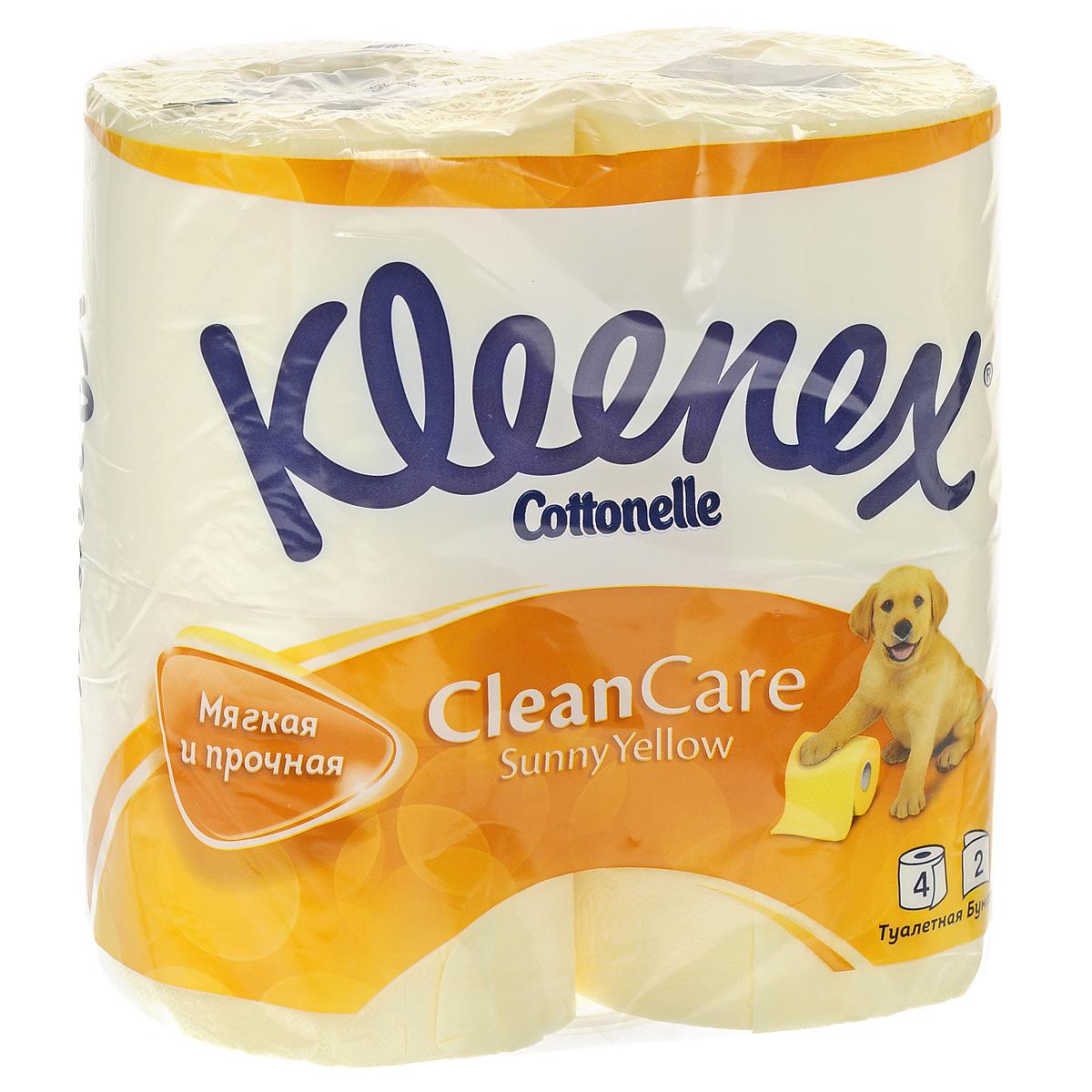 Туалетная бумага Kleenex Sunny Yellow, двухслойная, цвет: желтый, 4 рулона260830823Двухслойная туалетная бумага Kleenex Sunny Yellow изготовлена из целлюлозы высшего качества. Листы желтого цвета имеют рисунок с тиснением в виде собачек. Мягкая, нежная, но в тоже время прочная, бумага не расслаивается и отрывается строго по линии перфорации.
