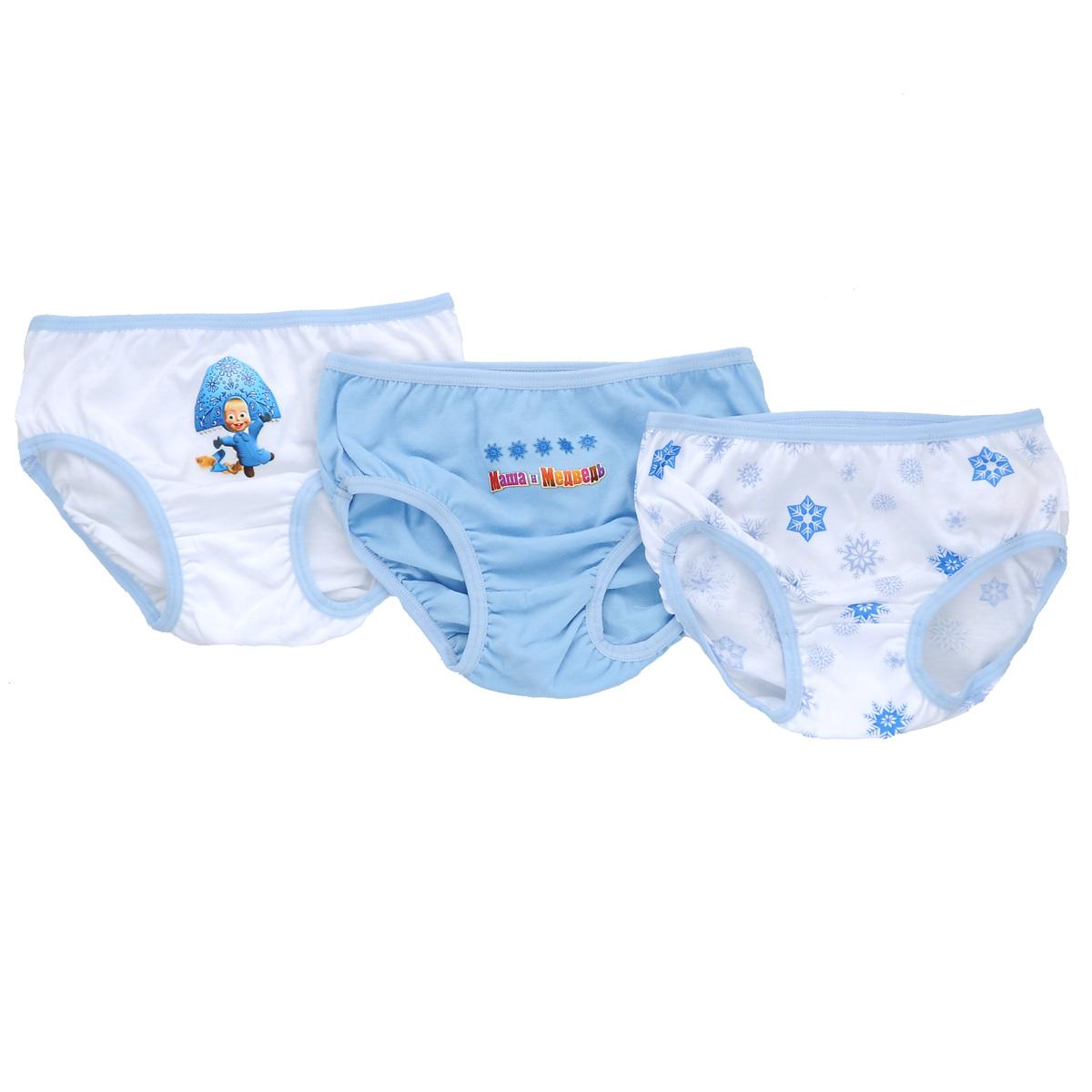 Комплект трусов для девочки Lowry Маша и Медведь, цвет: голубой, белый, 3 шт. GP-258. Размер 26 (XS), 2 года