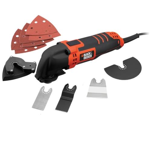 Инструмент осциллирующий Black&Decker MT300KAMT300KAУниверсальный инструмент Black&Decker предназначен для работ по дому, например, для шлифования поверхностей. Данный инструмент также подходит для резки древесины, пластика, гипса, цветных металлов и крепежных элементов (например, незакаленных гвоздей, скоб), работ по мягкой настенной плитке, а также для зачистки небольших поверхностей.Прочная конструкция корпуса обеспечивает долговечность и удобство при сервисном обслуживании.Система Superlok для бесключевой смены насадок: легко, быстро и без дополнительных инструментов!Особенности инструмента:Тонкая задняя рукоятка и мягкое покрытие обеспечивают комфорт при длительном использовании.Регулировка скорости от 10000 до 22000 об/мин обеспечивает оптимальный контроль при выполнении любых операций.Шлифовальная подошва оснащена встроенной системой пылеудаления для обеспечения чистоты в рабочем пространстве.Переходник для установки насадок подходит для установки принадлежностей Bosch, Einhell и Worx с использованием ключа.Скорость: 10000-22000 об./мин.Скорость: RU n/a RU-rpm.Вес: 1,58 кг.Выключатель скользящий.Фиксация включенного положения: есть.Тип рукоятки: корпус-рукоятка.Износостойкость: 96 ч.Как выбрать мультитул. Статья OZON Гид