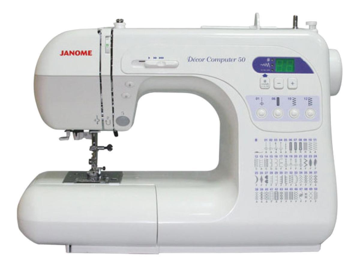Janome DC 50 швейная машинаDC 50Машина DC 3050 оснащена полным набором функций для идеального исполнения Ваших декоративных и швейных проектов. С компьютерной точностью изготовление любых швейных изделий становится легким и быстрым. Выбор стежков происходит за одно мгновение с помощью большого светового дисплея. Компьютерная швейная машина DC 3050 сочетает в себе качество стежков Janome и умеренную цену.Отличительные особенности:47 стежков, включая фамильные и стежки для квилтинга3 вида петель: прямоугольная, круглая, с глазкомДиапазон тканей от кожи до шелкаАвтоматическая регулировка натяжения нитиОтключение механизма подачи тканиПлавная регулировка пределаскорости шитья на корпусе машиныВстроенный нитевдевательКнопкаподъема/ опускания иглыТочечная закрепкаМаксимальный подъем лапки 13 ммСъемная рукавная платформаМгновенный выбор стежковЖесткий чехол