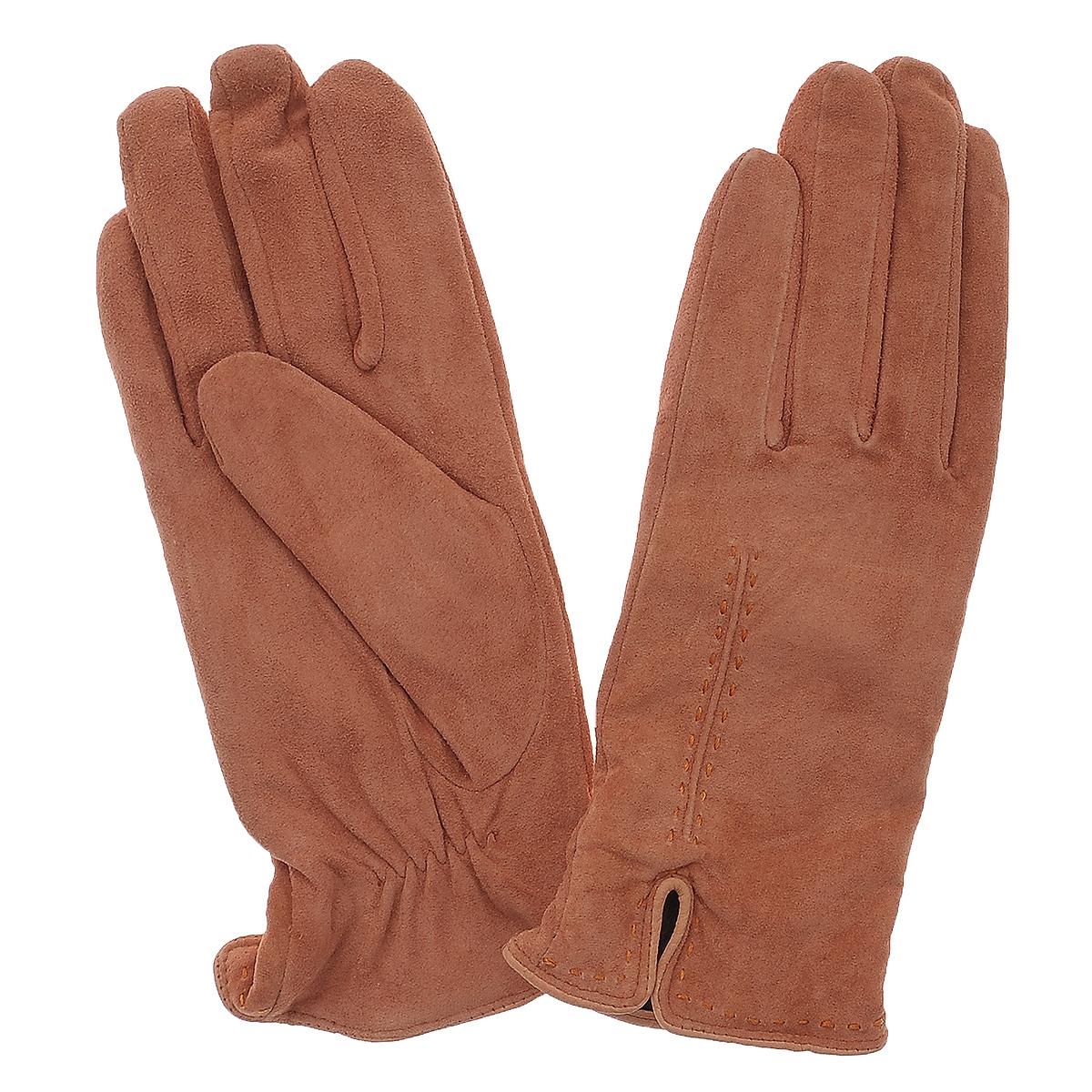 Перчатки женские Dali Exclusive, цвет: персик. SP11_ALINA. Размер 6,5SP11_ALINAСтильные перчатки Dali Exclusive с шерстяной подкладкой выполнены из мягкой и приятной на ощупь натуральной замши. Лицевая сторона оформлена декоративными стежками и дополнена небольшими разрезами. Такие перчатки подчеркнут ваш стиль и неповторимость и придадут всему образу нотки женственности и элегантности.