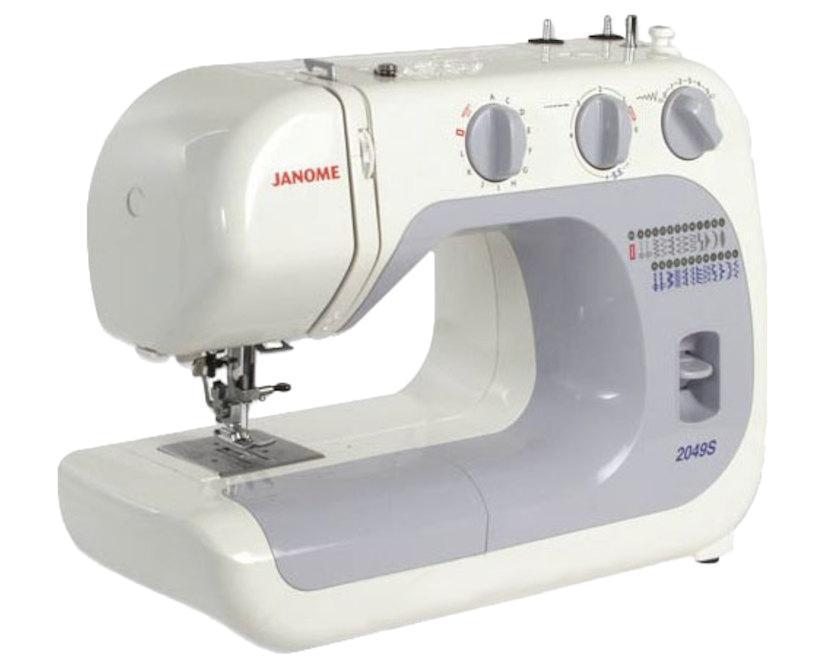 Janome 2049S швейная машина2049SЛегкая в использовании швейная машина, идеально подходит как для начинающих, так и для более опытных пользователей. Функция «петля-автомат» позволит Вам без проблем справиться аккуратно и быстро с любым количеством петель. Машина великолепно работает с разными видами тканей.Отличительные особенности:Электромеханическая швейная машина23 швейные операциирабочие строчкипотайные строчкиоверлочные строчкитрикотажные строчкидекоративные строчкипетля-автоматРегулировка длины стежка от 0 до 4 ммРегулировка ширины зигзага до 5 ммРегулятор натяжения верхней нитиВертикальный челнокРычаг обратного ходаЛегко пристегивающаяся лапкаДополнительный подъем лапкиВстроенный нитеобрезательВстроенный нитевдевательПереключатель нижнего транспортераДва металлических вертикальных катушечных стержняСвободный рукавОтсек для хранения аксессуаровГарантийный срок 2 годаПроизводство ТаиландНабор аксессуаров:Универсальная лапка AЛапка для вшивания молнии односторонняяЛапка для потайной строчкиЛапка для автоматической петли RШпульки пластиковые 4шт. (3шт. и 1 в машине)Набор игл 3шт.Двойная иглаВспарывательМалая отверткаВиниловый чехол