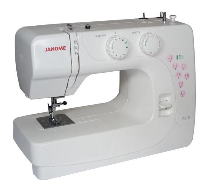 Janome PX 18 швейная машинкаPX 18Janome PX 18 - это швейная машина начального уровня. Челночное устройство вертикальное, петля в полуавтоматическом режиме, 12 строчек, в комплекте 4 лапки, чехол мягкий. Janome PX 18 позволит Вам выполнить основные швейные операции.