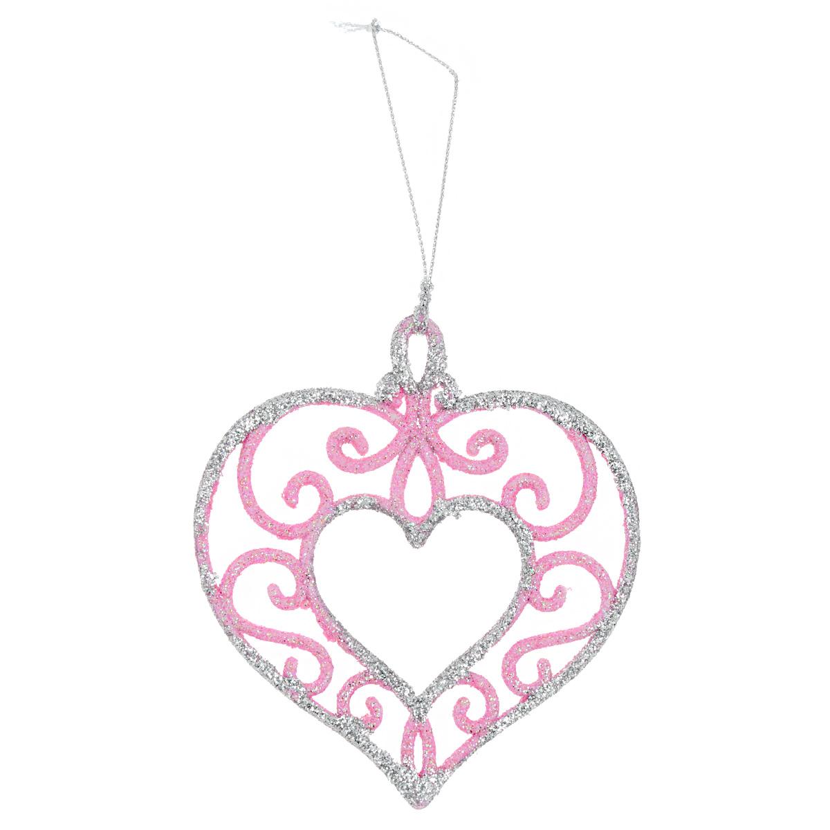 Новогоднее подвесное украшение Сердце розовое с серебром. 3500535005