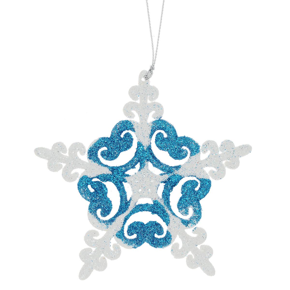 Новогоднее подвесное украшение Снежинка, цвет: синий, диаметр 12 см. 3498234982Оригинальное новогоднее украшение из пластика прекрасно подойдет для праздничного декора дома и новогодней ели. Изделие крепится на елку с помощью металлического зажима.