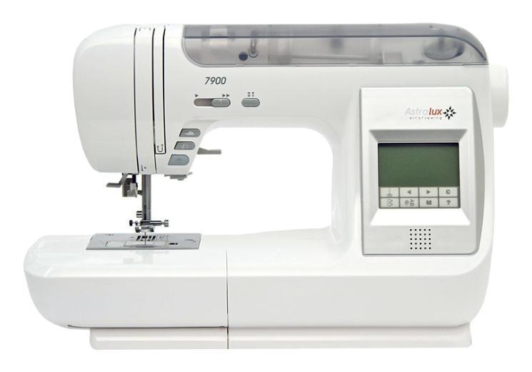 Astralux 7900 швейная машинка7900AstraLux 7900 – это компьютеризированная швейная машина, которая объединяет в себе огромный функционал. Ей подвластно все: шитье и декорирование как плотных, так и тончайших тканей. В ее арсенале 539 разнообразных операций! При этом она невероятно проста в управлении. Данная машина обеспечивает безупречные декоративные, потайные и оверлочные строчки. Вы сможете вышивать, штопать и делать аппликации. И это еще не все! Пэчворк, монограмная обработка, квилтинг и петли автомат (13 разновидностей). Для выбора необходимой операции достаточно воспользоваться быстрым меню на сенсорном экране или выбрать голосовые подсказки. Существенно упрощают работу швейной машины АстраЛюкс 7900 анимационные подсказки. Безупречную работу и качественные строчки обеспечивает горизонтальный тип челнока, удобный регулятор давления лапки и усиленная семи сегментная рейка. В комплектацию входит верхний транспортер. Для увеличения рабочей поверхности имеется приставной столик. Машина может шить задним ходом и двойной иглой. Скорость шитья регулируется, поэтому она отлично подойдет как для ателье, так и для домашнего использования.