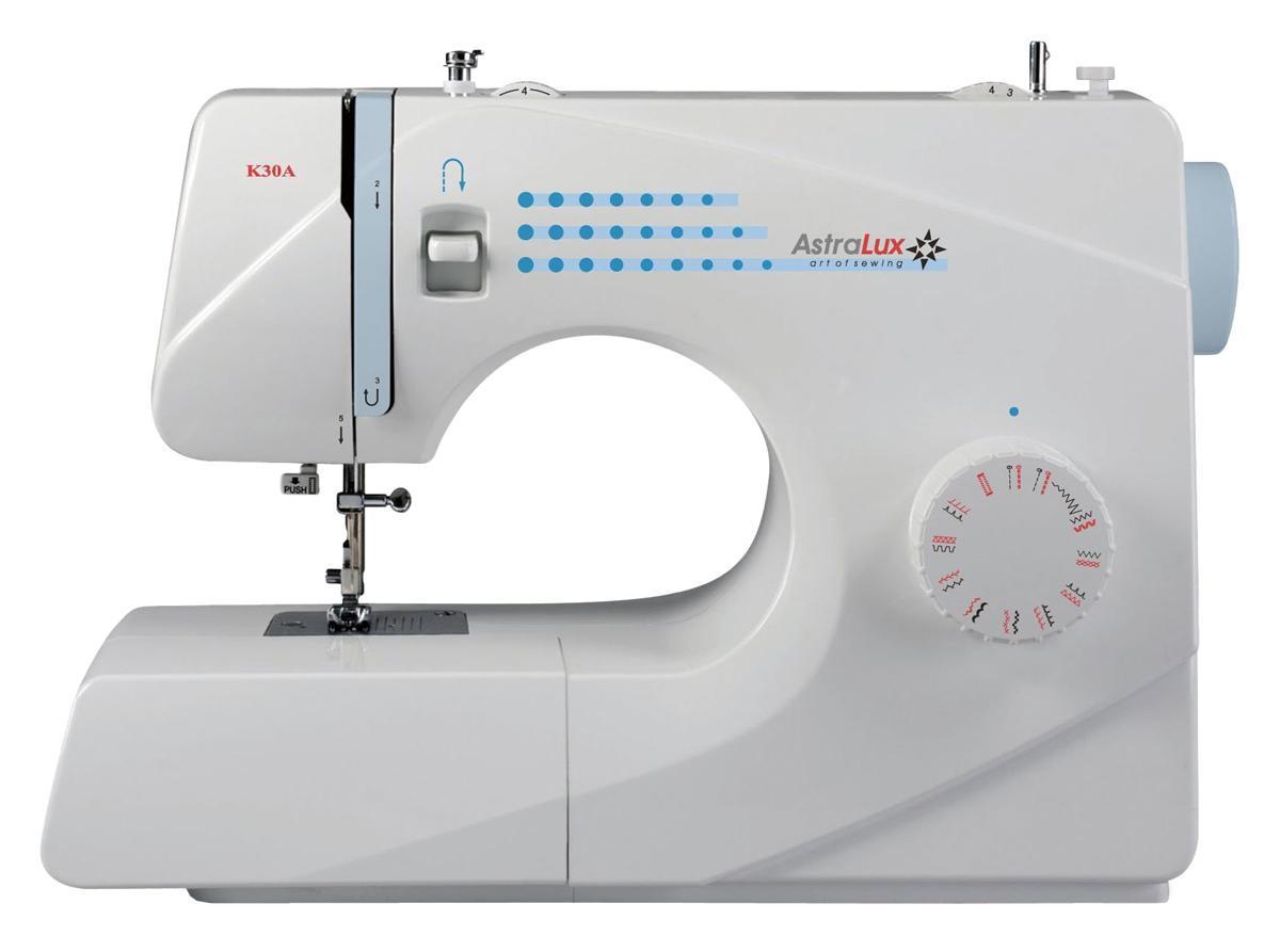 Astralux K30A швейная машинкаK30AРасширенные возможности: рабочие операции, эластичные строчки для трикотажных тканей, декоративные и оверлочные строчки, потайная подшивка низа, квилтинг и пэтчворки т.д.