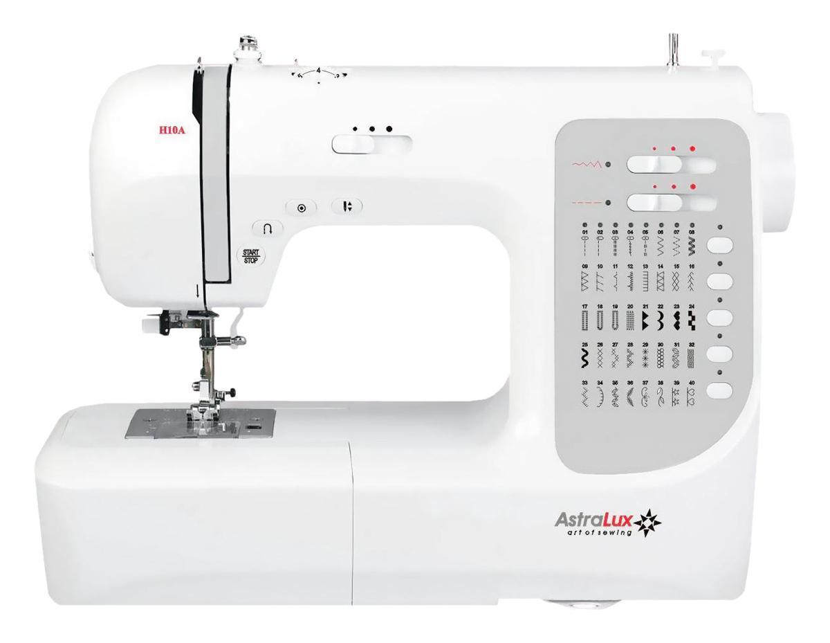 Astralux H10A швейная машинкаH10AТеперь Вам доступны такие возможности как: рабочие операции, эластичные cтрочки для трикотажных тканей,декоративные иоверлочные строчки, тайная подшивка низа, квилтинг и пэтчворк, штопка, выполнение монограмм, аппликаций, вышивки, художественная отделка ваших изделий,ремонтные работыи т.п.Шить на такой машине одно удовольствие! Ваши фантазия и умение, в сочетании с такой машиной – великолепные возможности для творчества!