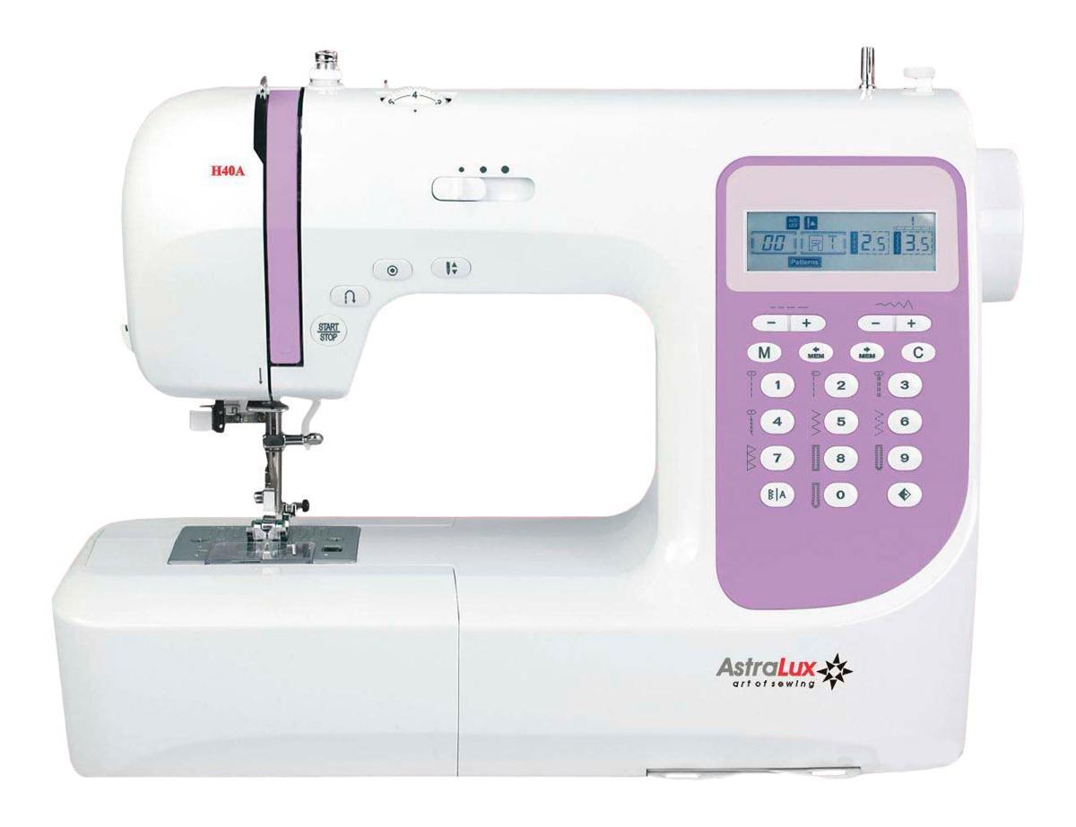 Astralux H40A швейная машинкаH40AТеперь Вам доступны такие возможности как: рабочие операции, эластичные cтрочки для трикотажных тканей,декоративные иоверлочные строчки, тайная подшивка низа, квилтинг и пэтчворк, штопка, выполнение монограмм, аппликаций, вышивки, художественная отделка ваших изделий,ремонтные работыи т.п.Шить на такой машине одно удовольствие! Ваши фантазия и умение, в сочетании с такой машиной – великолепные возможности для творчества!