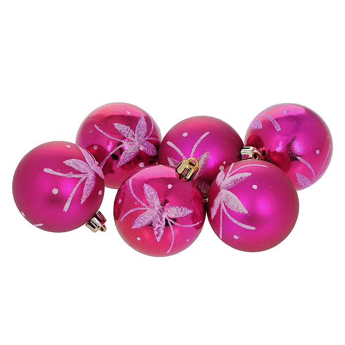 """Набор новогодних подвесных украшений """"Шар"""", цвет: фиолетовый, диаметр 6 см, 6 шт. 35538"""
