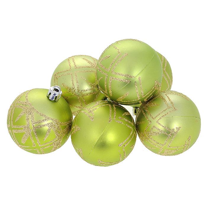 Набор новогодних подвесных украшений Шар, цвет: салатовый, диаметр 6 см, 6 шт. 35548