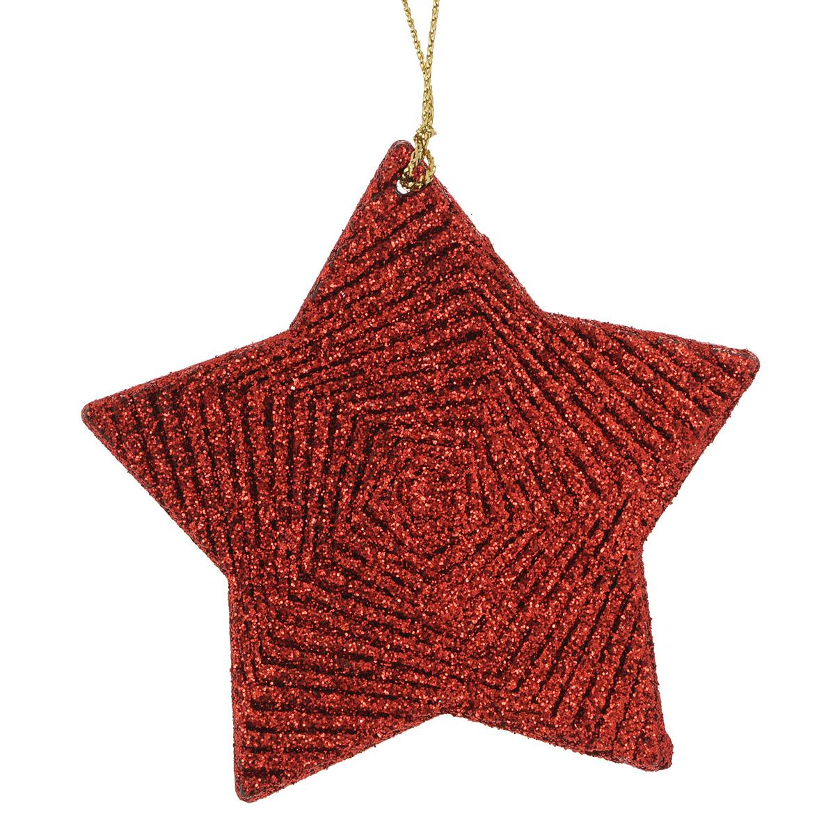 Новогоднее подвесное украшение Красная звезда. 3498034980Оригинальное новогоднее украшение из пластика прекрасно подойдет для праздничного декора дома и новогодней ели. Изделие крепится на елку с помощью металлического зажима.