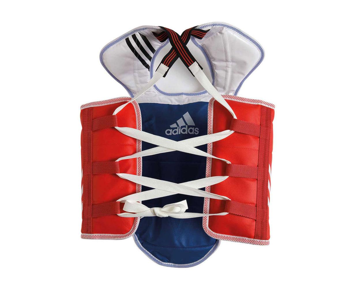Защита двухсторонняя Adidas Adult Taekwondo Body Protector Revesible WTF, цвет: сине-красный. Размер XL free combat sanda full set 8 pieces protector taekwondo karate sport shin guard helmet body protector groin guard chest guard