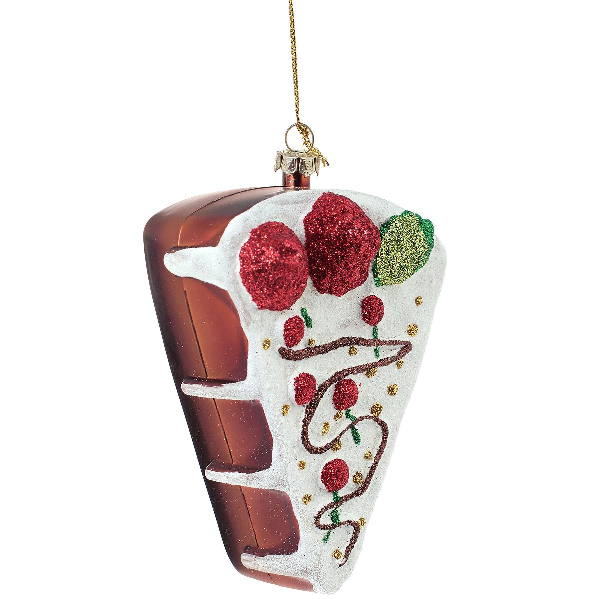 Новогоднее подвесное украшение Торт. 2589725897Оригинальное новогоднее украшение из пластика прекрасно подойдет для праздничного декора дома и новогодней ели. Изделие крепится на елку с помощью металлического зажима.