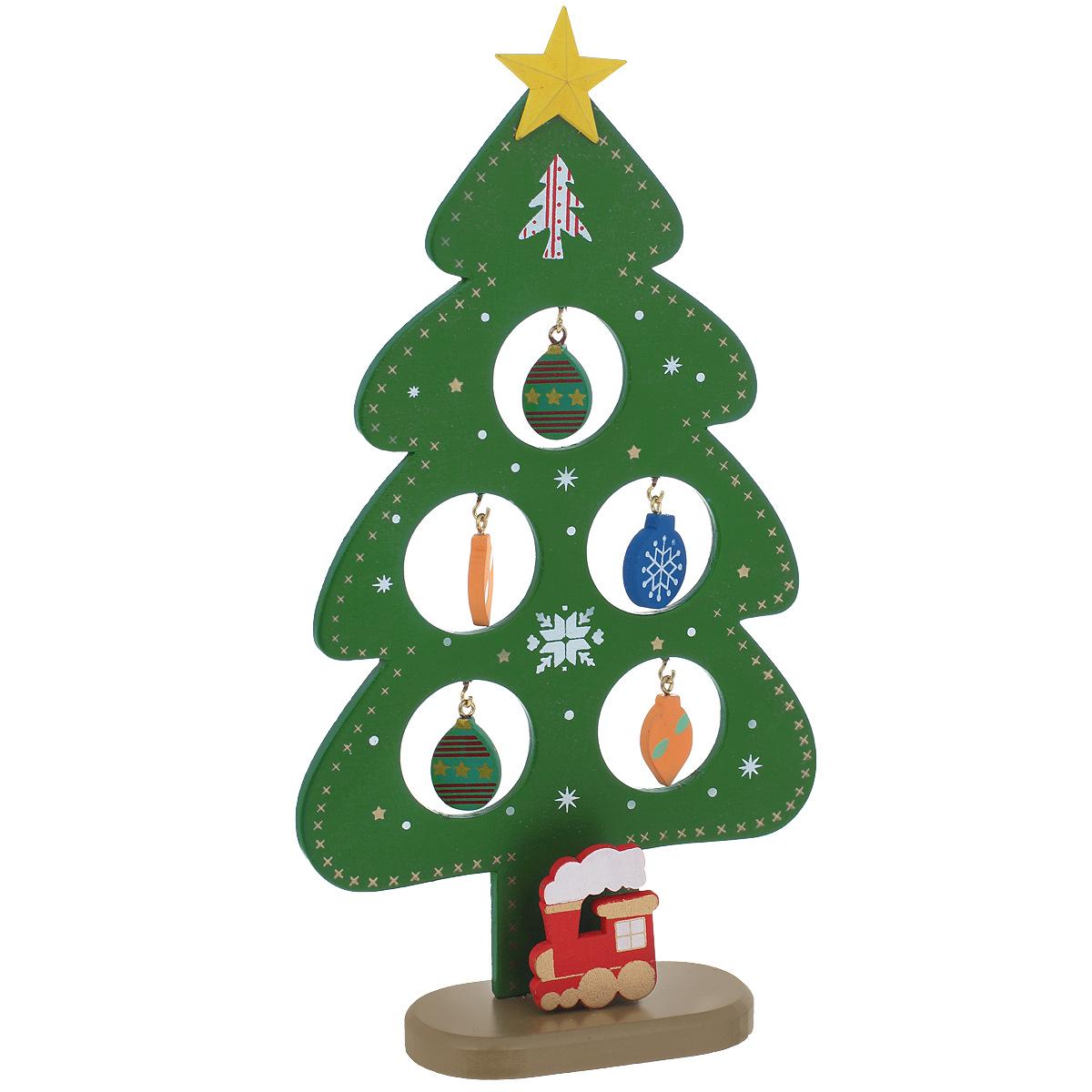 Новогоднее деревянное украшение Елочка, цвет: зеленый. 3525335253Оригинальное деревянное украшение Елочка гармонично впишется в праздничный интерьер вашего дома или офиса. Украшение выполнено из древесины тополя в виде зеленой елочки, которая устанавливается на подставку. На елке имеются металлические крючки для деревянных игрушек. Сверху елочку украшает желтая звезда. Новогодние украшения всегда несут в себе волшебство и красоту праздника. Создайте в своем доме атмосферу тепла, веселья и радости, украшая его всей семьей.
