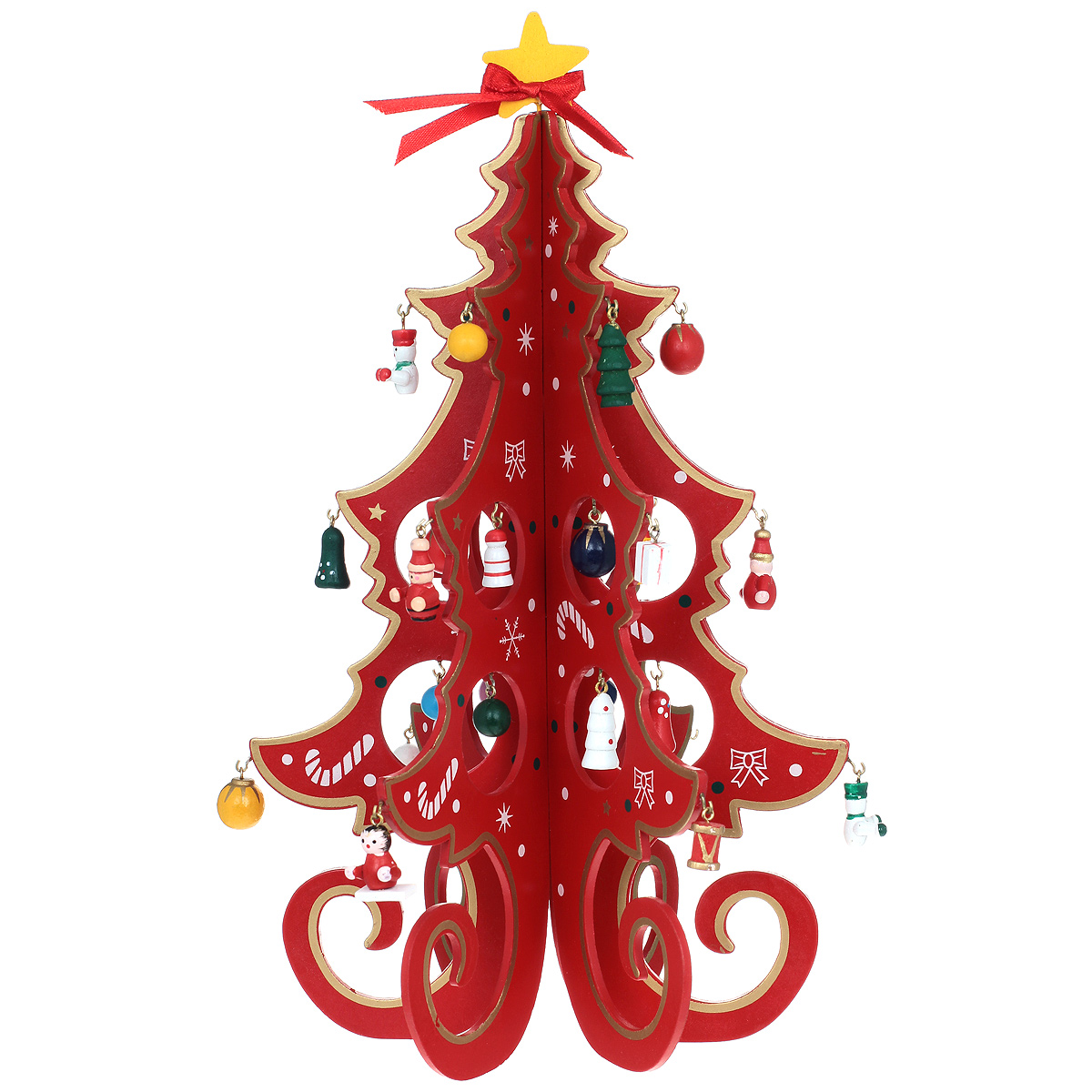 Новогоднее деревянное украшение Новогодняя елка, цвет: красный. 2616726167Новогоднее деревянное украшение Новогодняя елка гармонично впишется в праздничный интерьер вашего дома или офиса. Украшение выполнено из дерева в виде елки зеленого цвета, которая устанавливается на круглую подставку. Изделие оснащено музыкальным устройством, которое играет мелодию М.И. Красева к песне Маленькой елочке холодно зимой. Музыкальное устройство оснащено заводным механизмом, которое располагается на дне. На елке имеются металлические крючки, на которые подвешиваются маленькие деревянные игрушки (входящие в комплект). Сверху елочку украшает желтая звезда с красной текстильной ленточкой. Новогодние украшения всегда несут в себе волшебство и красоту праздника. Создайте в своем доме атмосферу тепла, веселья и радости, украшая его всей семьей.