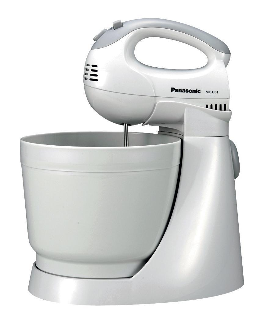 Panasonic MK-GB1WTQ миксерMK-GB1WTQСтационарный миксер Panasonic MK-GB1WTQ выполнен в корпусе из прочного белого пластика. Трехлитровая чаша подходит для приготовления соусов, омлета, крема и теста. Миксер обладает мощностью 200 Вт и пятью скоростями. Подставка с вращающейся чашей поможет выбрать наиболее удобное положение для замешивания.