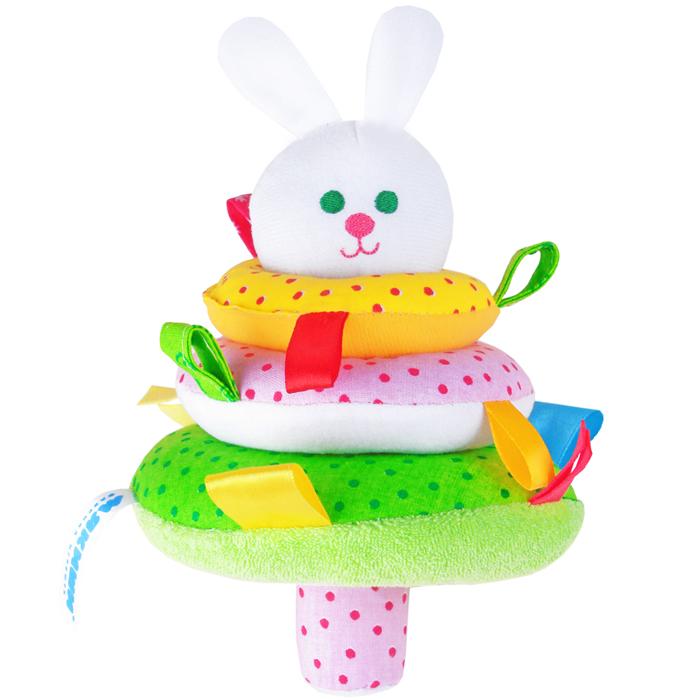 Мякиши Мягкая игрушка-пирамидка Зайка мякиши мягкая книжка игрушка веселое