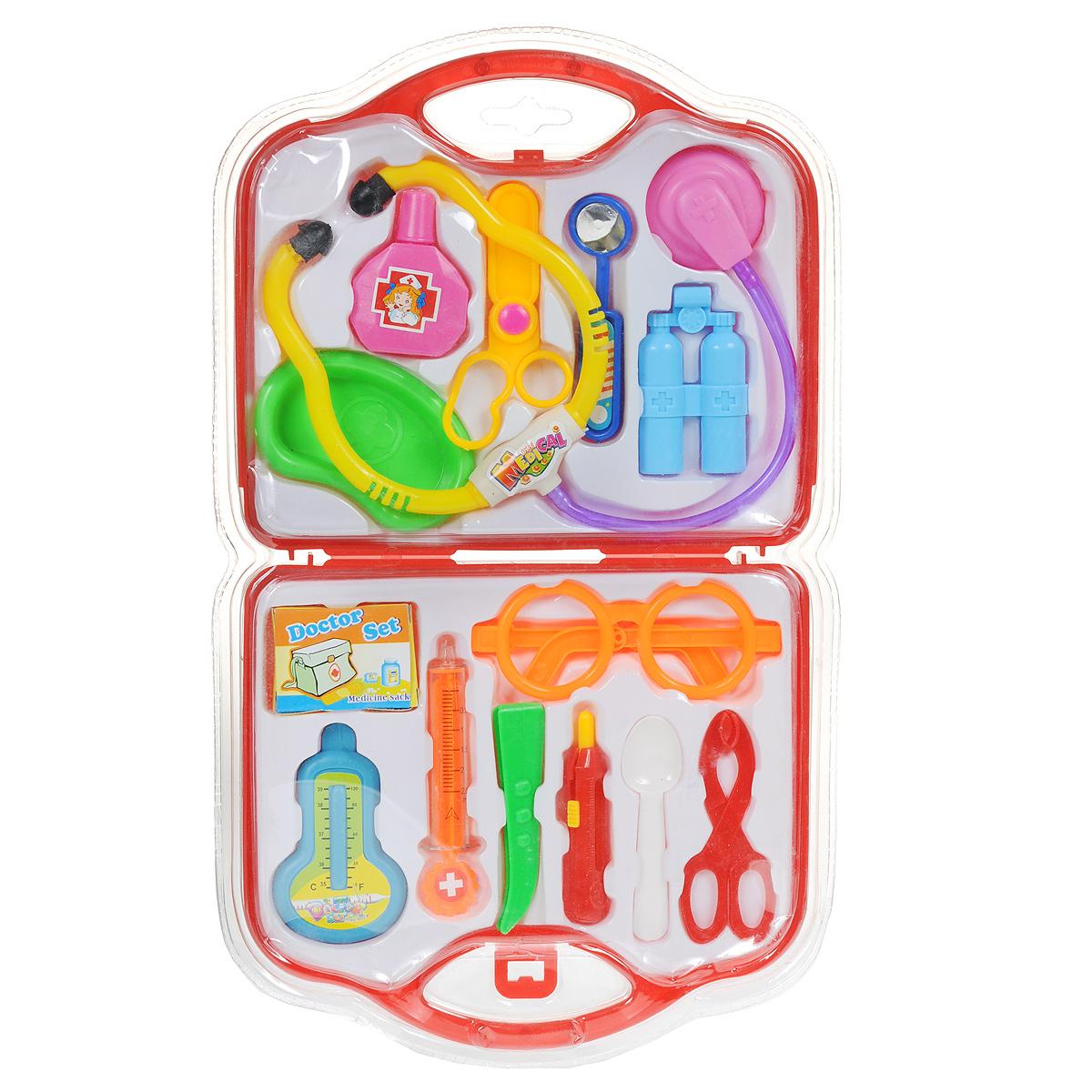 Игровой набор Чемоданчик Доктора, 15 предметов, цвет: красный, желтый ролевые игры classic world игровой набор доктора