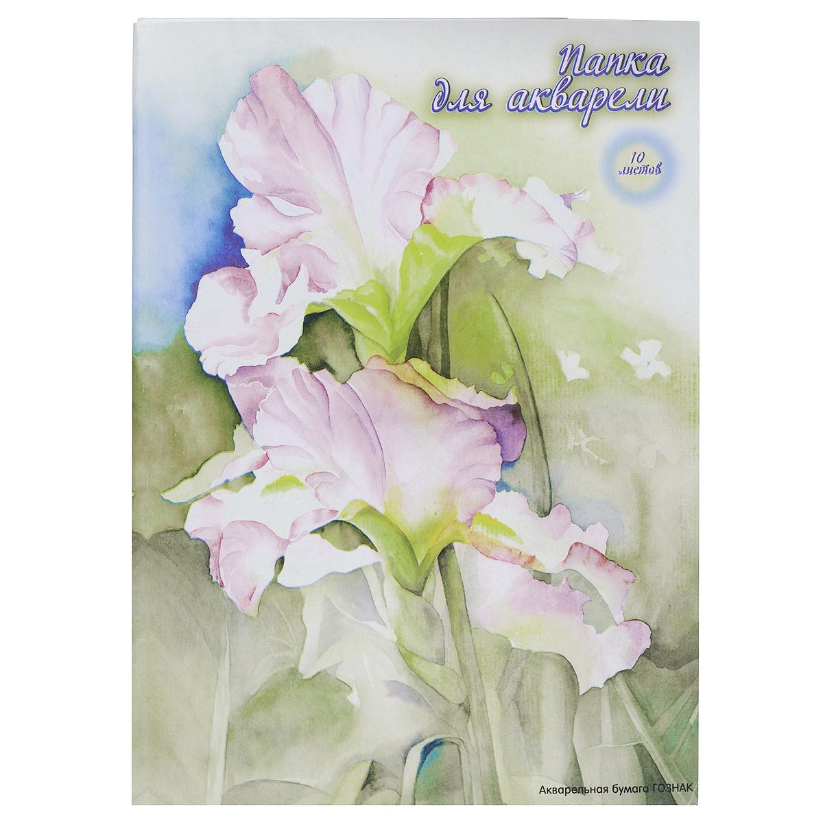 """Бумага для акварели ACTION! """"Цветок"""", 10 листов, формат А3, цвет папки: серый"""