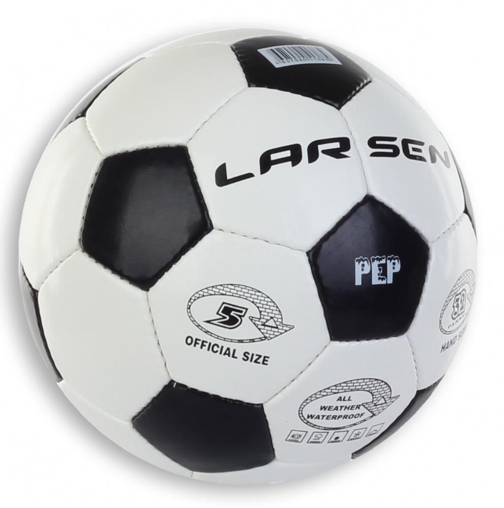 Мяч футбольный Larsen Pep, цвет: белый, черный. Размер 51323Футбольный мяч Larsen Pep подойдет для игры на всех покрытиях. Он выполнен из синтетической кожи и полиуретана. Матовая поверхность. Имеет 4 слоя подкладочного материала - 3 слоя поликоттон и 1 поливискоза. Ручная сшивка. 32 панели. Камера выполнена из латекса, с бутиловым ниппелем.Окружность: 68-69 см.