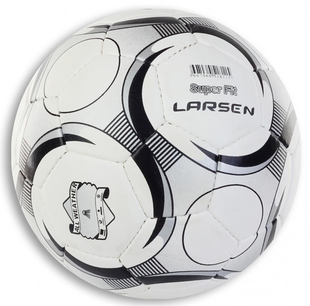 Мяч футбольный Larsen SuperFit, цвет: белый, черный. Размер 574847Мяч футбольный Larsen SuperFit, цвет: белый, черный. Размер 5Футбольный мяч Larsen SuperFit подойдет для игры на всех покрытиях. Он выполнен из синтетической кожи и полиуретана. Матовая поверхность. Имеет 4 слоя подкладочного материала - 3 слоя поликоттон и 1 хлопка. Ручная сшивка. 32 панели. Камера выполнена из латекса, с бутиловым ниппелем (60-65 г).Окружность: 68-69 см.Вес: 400-440 г.