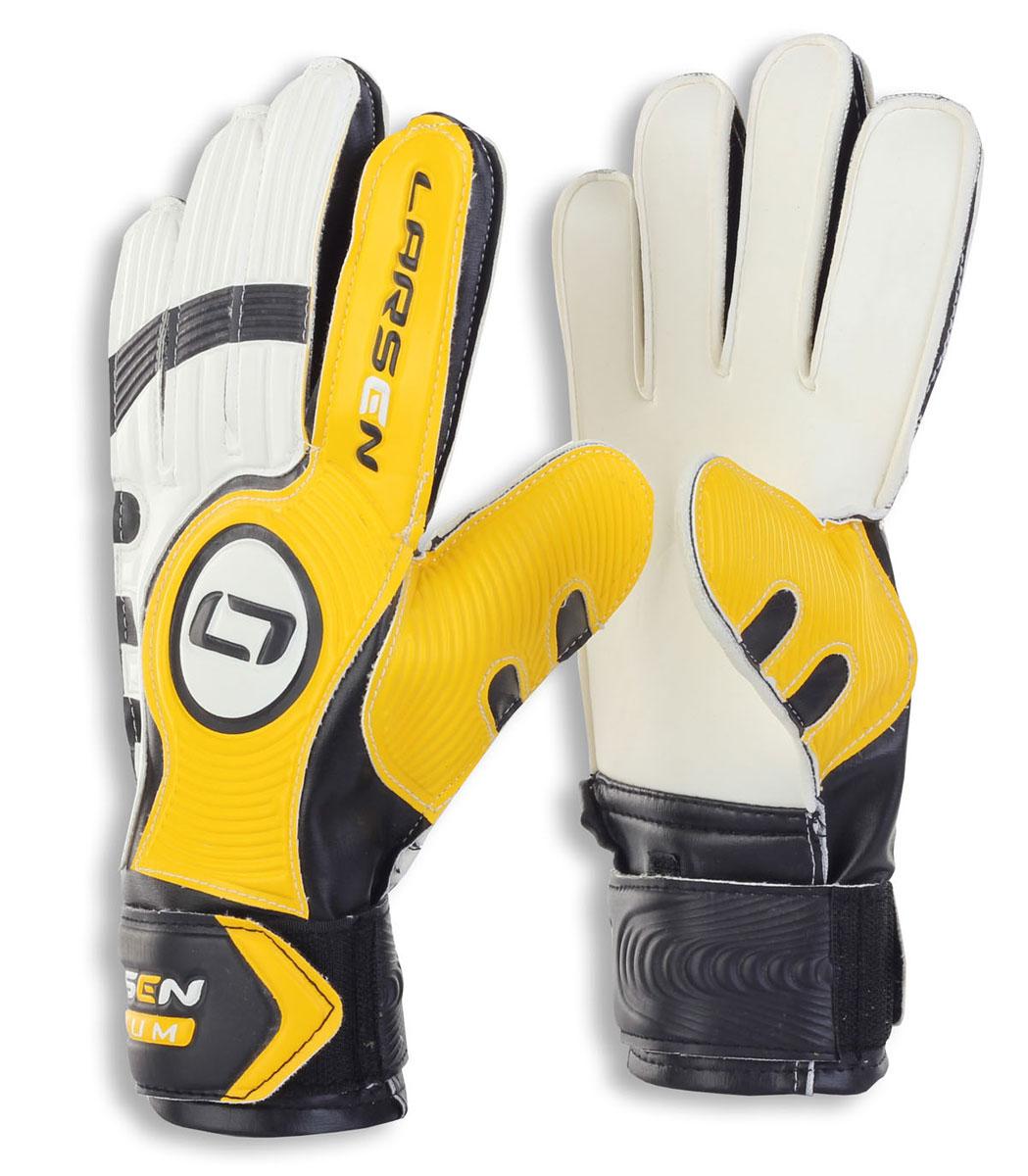 Перчатки вратарские Larsen  Radium , цвет: черный, желтый. Размер 7 - Футбол