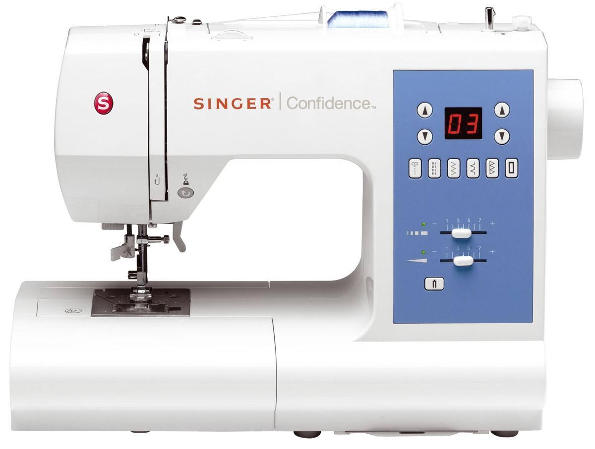 Singer 7465 швейная машинаConfidence 7465 белыйЭлектронная швейная машина, 50 операций, 6 кнопок выбора рисунка, 2 вида изготовления петель. Жидкокристаллический дисплей, автоматическая заправка нити, автоматическое натяжение нити, регулируемая подача ткани. Режим двойной иглы, набор специальных принадлежностей в отделении съемной платформы.