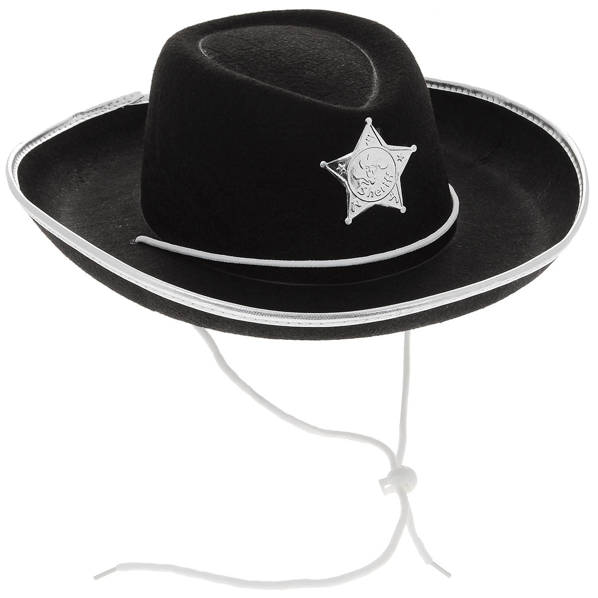 Маскарадная шляпа Шериф, цвет: черный, белый, 54,5 см. 31320 villa винтовка шериф цвет золотистый